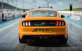 Картинка оранжевый, Ford, вид сзади, Fastback, 2018, Mustang GT