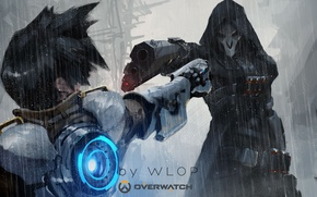 Обои Game, Blizzard Entertainment, Reaper, Overwatch, Tracer, By Wlop