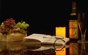 Картинка бутылка, виноград, книга, натюрморт