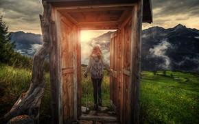 Картинка солнце, обработка, дверь, девочка