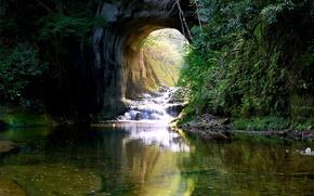 Картинка зелень, вода, ручей, камни, скалы, водопад, мох, Япония, арка, кусты, Kimitsu, Nomizo Falls
