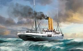 Картинка море, волны, корабль, Transatlantic Ships, ammonia