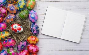 Картинка весна, colorful, Пасха, wood, spring, Easter, eggs, decoration, Happy, яйца крашеные