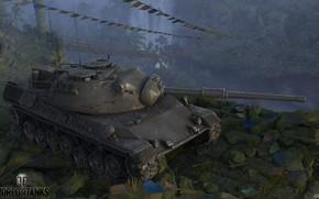 Картинка камни, танк, флажки, World of Tanks, Leopard 1