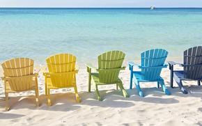 Картинка песок, море, настроение, берег, стулья