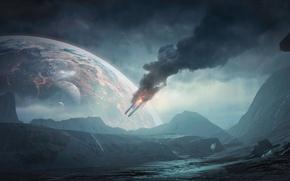 Обои BioWare, Mass Effect, Земля, Electronic Arts, Космос, Горы, Планета, Mass Effect: Andromeda, Дым