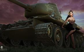 Картинка девушка, рисунок, арт, танк, Т-34, советский, средний, World of Tanks, Nikita Bolyakov