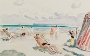 Картинка рисунок, Пляж, акварель, Henri Lebasque, Анри Лебаск