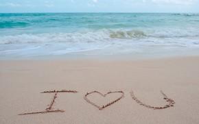Картинка песок, море, волны, пляж, лето, любовь, summer, love, beach, sea, heart, romantic, sand, I love …