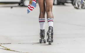Картинка legs, woman, stockings, flag, rollers