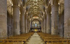 Обои колонны, неф, Тьюксбери, Англия, аббатство