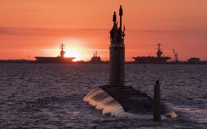 Картинка вечер, субмарина, боевые корабли