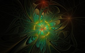Обои абстракция, чёрный фон, зелёная клякса