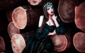 Картинка стиль, модель, макияж, платье, помада, декольте, украшение, губки, брёвна, Мария Липина, Лана Николаева