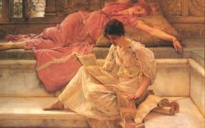 Картинка девушки, живопись, подруги, Sir Lawrence Alma-Tadema, The Favourite Poet