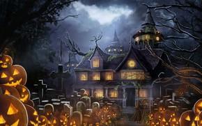 Картинка дом, аниме, тыквы, хеллоуин, параздник