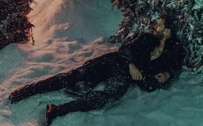 Картинка зима, деревья, актер, лежит, на снегу, в лесу, Jamie Dornan, Джейми Дорнан, Norman Jean Roy, ...