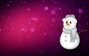 Картинка Минимализм, Снег, Рождество, Снежинки, Фон, Новый год, Праздник, Снеговик