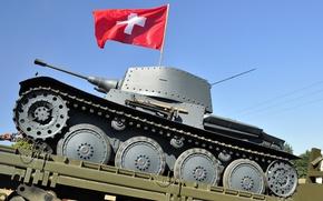 Картинка флаг, танк, боевой, Бронетехника