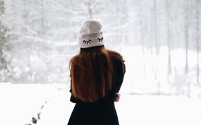 Обои зима, девушка, шапка, волосы, спина, пальто