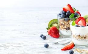 Картинка ягоды, еда, завтрак, киви, стаканы, ложки, йогурт, Saschanti