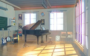 Картинка часы, инструменты, помещение, Everlasting Summer, Summer camp