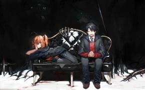 Картинка девушка, бабочки, диван, тьма, руки, парень, Fate / Grand Order