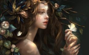 Картинка взгляд, девушка, цветы, природа, бабочка, волосы, фэнтази, ушки