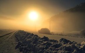 Картинка зима, дорога, ночь, туман