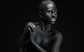 Картинка black, fashion, Golden, make up