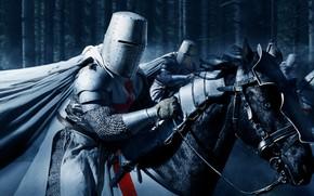 Картинка доспехи, лошади, шлем, рыцари, крестоносец