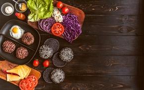 Картинка зелень, сыр, мясо, овощи, соус, гамбургер, котлета, сэндвич, булочка, бутерброды, hamburger, tomato, sandwich, ингредиенты