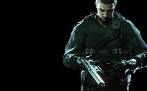 Картинка red, gun, pistol, game, weapon, Resident Evil, man, asian, rifle, DLC, Biohazard, Chris Redfield, oriental, …
