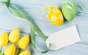 Картинка Пасха, тюльпаны, yellow, tulips, spring, eggs, Happy Easter, Easter eggs