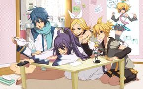 Картинка музыка, комната, чай, аниме, арт, девочка, парни, Vocaloid, Вокалоид