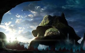 Картинка небо, черепаха, арт