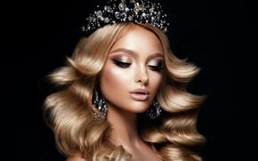 Картинка девушка, корона, макияж, прическа, украшение, сережки, diamond, Korabkova