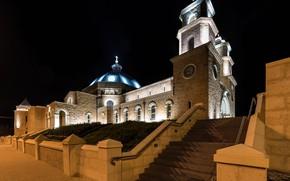 Картинка ночь, подсветка, Австралия, собор, Джералдтон, Geraldton