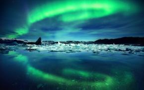 Картинка небо, ночь, отражение, лёд, северное сияние, Исландия, фьорд