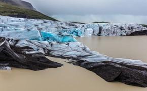 Картинка лед, зима, море, небо, вода, облака, горы, пасмурно, берег, лёд, ледник, холм, льды, север, Исландия, …