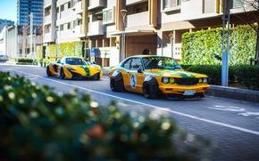 Обои свет, город, улица, McLaren, фотограф, Mazda, боке, Liberty Walk, 650S, RX-3, LBW, Dino Dalle Carbonare