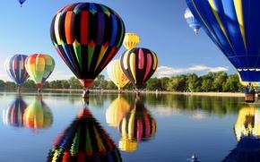 Картинка небо, озеро, воздушные шары