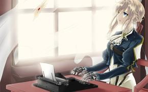 Картинка письмо, девушка, аниме, печатная машинка, Violet Evergarden