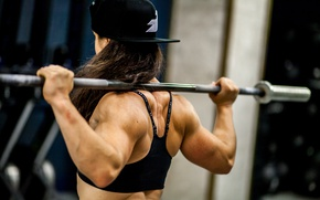 Картинка back, female, weight bar, musculature, Bodybuilder