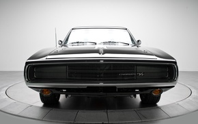 Обои машина, классика, передок, Dodge Charger, черный.