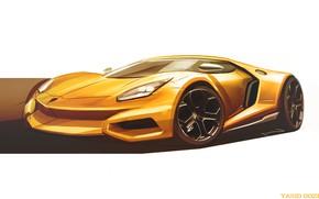 Картинка Авто, Рисунок, Lamborghini, Машина, Фон, Car, Автомобиль, Арт, Art, Рендеринг, Yasid Design, Yasid Oozeear, YASIDDESIGN, …