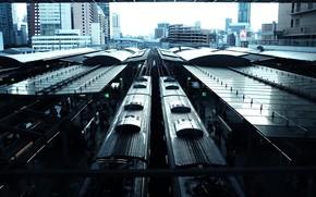 Картинка здания, вокзал, станция, Япония, поезда, Japan, Osaka, Осака