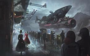 Картинка люди, фантастика, улица, корабль, арт, sci-fi