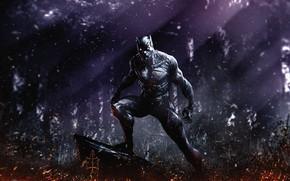 Картинка лес, маска, арт, костюм, marvel comics, T'Challa, Black Panther