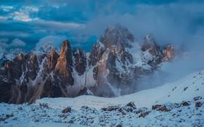 Картинка облака, снег, горы, вершины, Италия, Italy, Доломитовые Альпы, Veneto, Венето, Dolomites